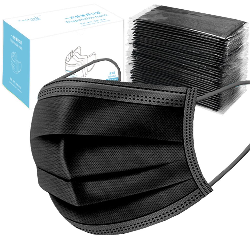 50PCS 3 Layers A Box Of Individually Packed Masks Disposable Mask Activated Carbon Mask Unisex Protection Fabric Dust Mask