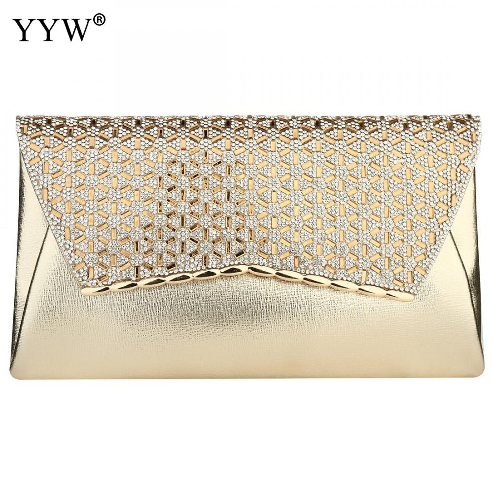 YYW Gold Clutch Bag Rhinestone Diamond Evening Purse With Chain Crossbody Bags Female Designer Luxury Party Clutches 2019 SacClutches   -