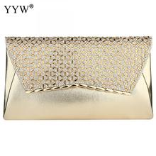 YYW Gold Clutch Bag Rhinestone Diamond Evening Purse With Chain Crossbody Bags Female Designer Luxury Party Clutches 2019 Sac