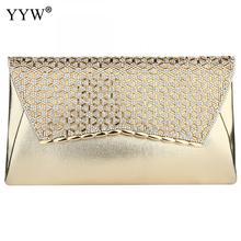 Yyw ouro bolsa de embreagem strass diamante noite bolsa com corrente crossbody sacos designer feminino luxo festa garras 2019 sac