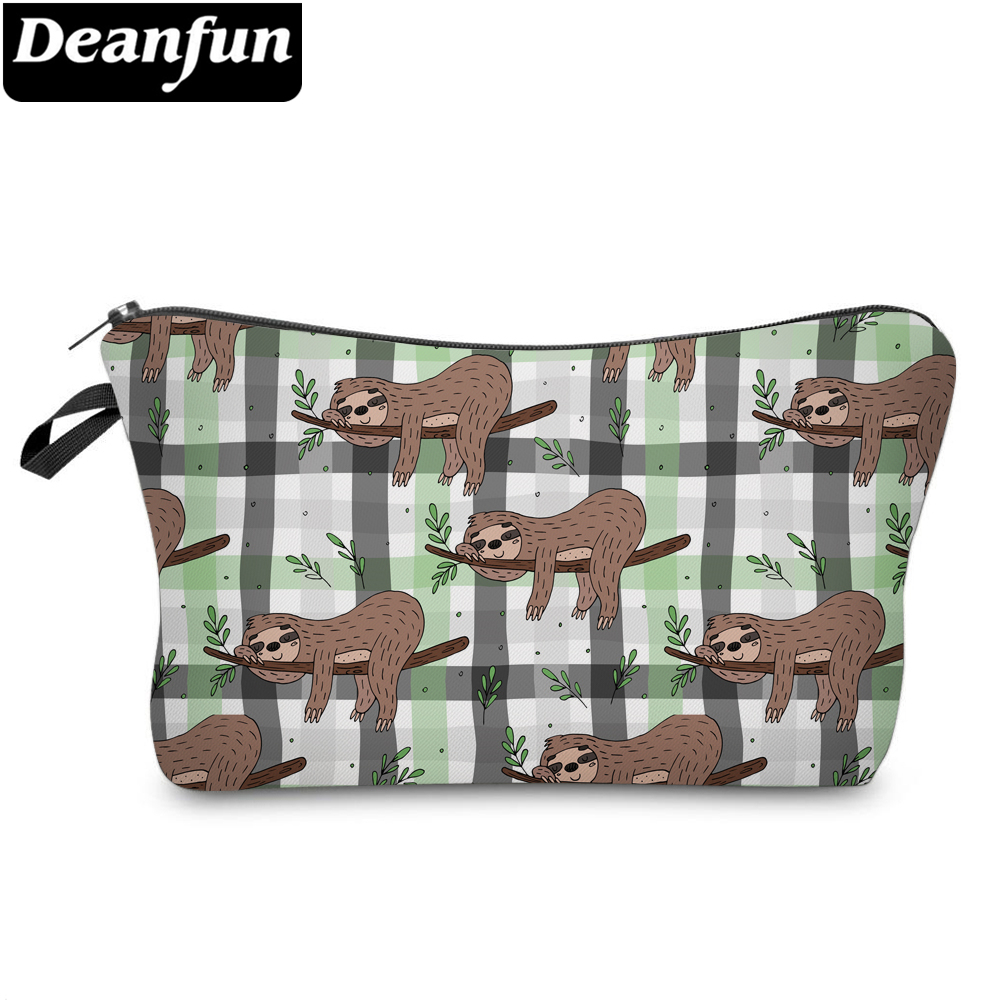 Deanfun 3D Printing Sloth Portable Makeup Bag Organizer Travel Waterproof Cosmetic Bags  Storage Pouch Purse For Women 51614