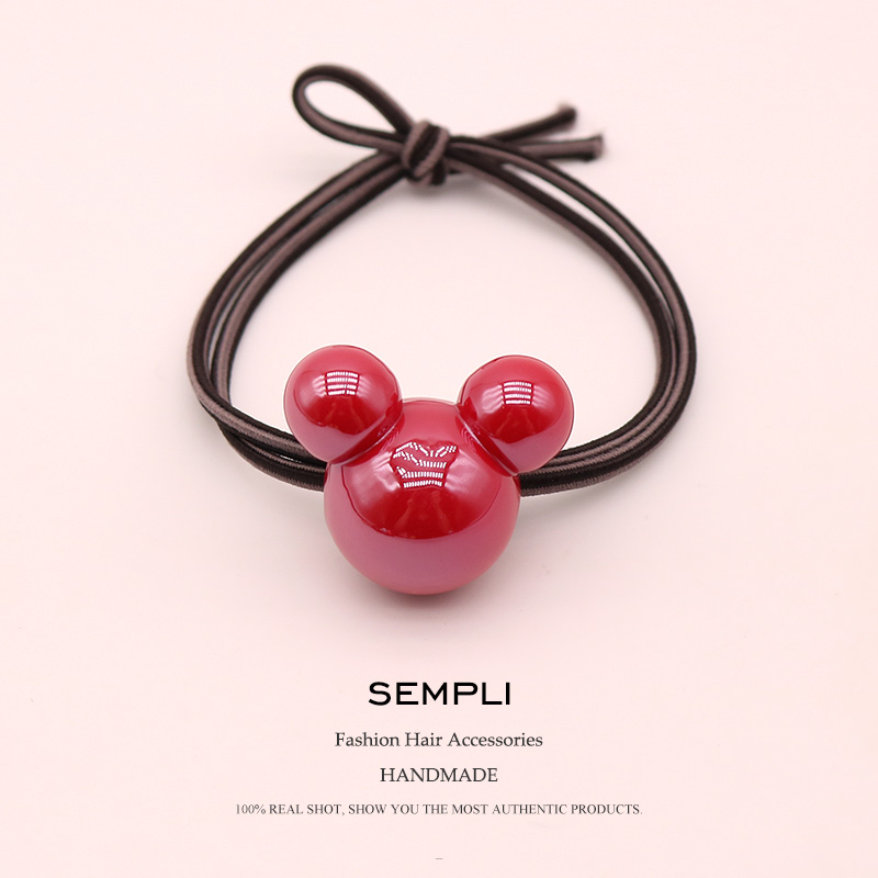 Sempli 9 Colors High Elasticity Rubber Bands Acrylic Red Mickey Minnie Head For Women Elastic Hair Bands Kid Children   Headwear