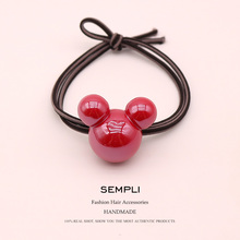 Sempli 9 Colors High Elasticity Rubber Bands Acrylic Red Mickey Minnie Head For Women Elastic Hair Kid Children Headwear