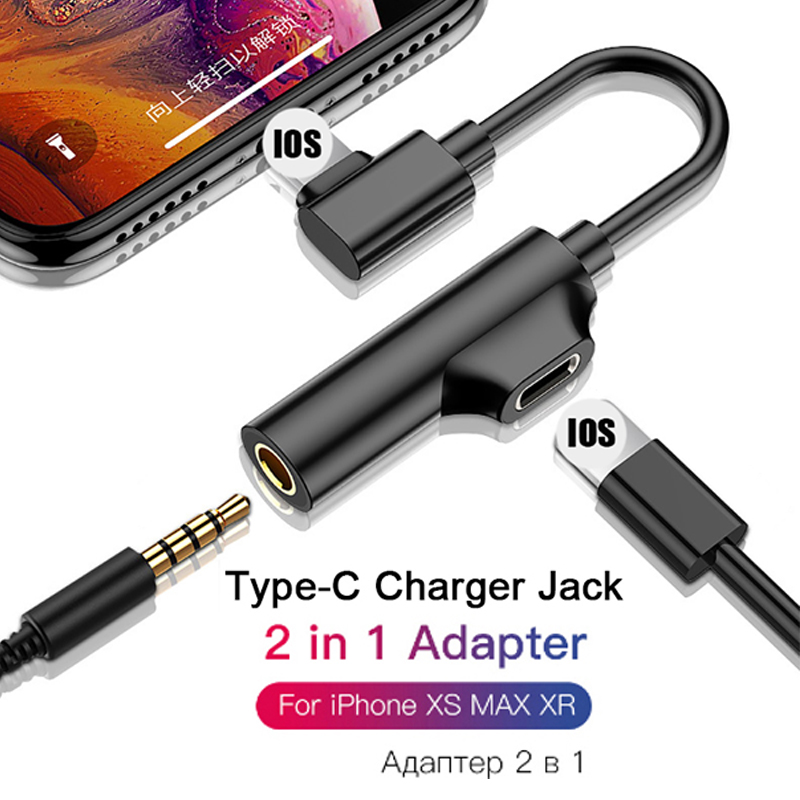 2 In 1 Lighting USB Type-C Audio Charging Adapter For IPhone 11 X XR XS 7 8 Plus For 3.5mm Jack To Earphone AUX Cable Connector