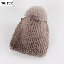 2020 New Russian Girls Real Mink Fur Bomber Hats Women Winter Warm Luxurious Natural Mink Fur
