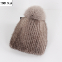 2020 New Russian Girls Real Mink Fur Bomber Hats Women Winte