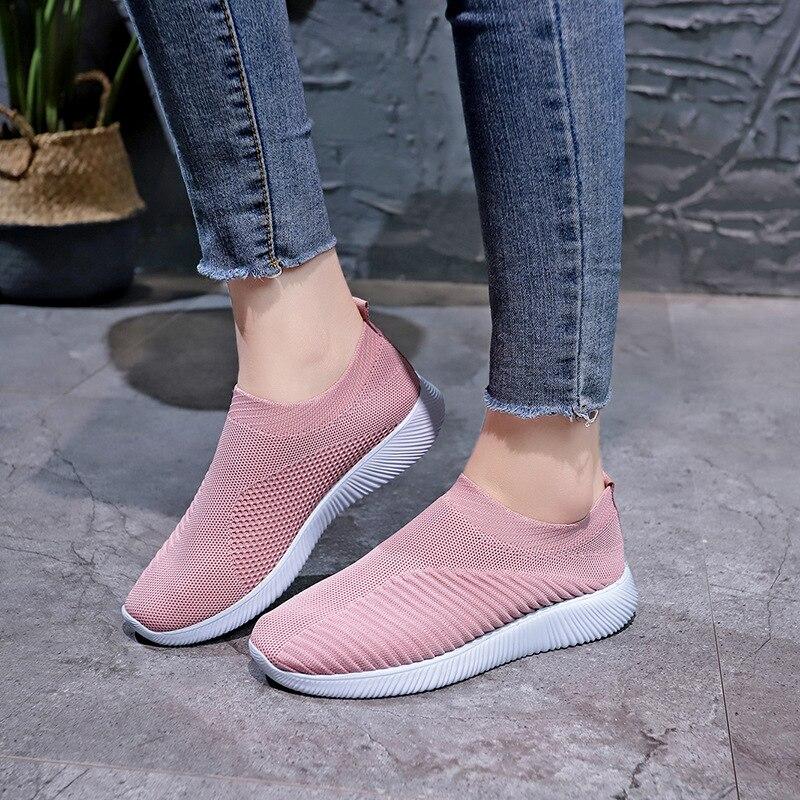 Plus Size buty damskie trampki 2020 rozciągliwa tkanina skarpetki buty wiosna lato Vulcanize buty Slip On Flat Casual Women shoes