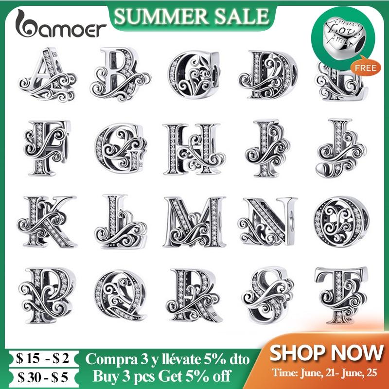 BAMOER 925 Sterling Silver Letter Vintage A to Z 26 Letter Charms Openwork CZ Alphabet Beads Fit Charm Bracelet BSC030