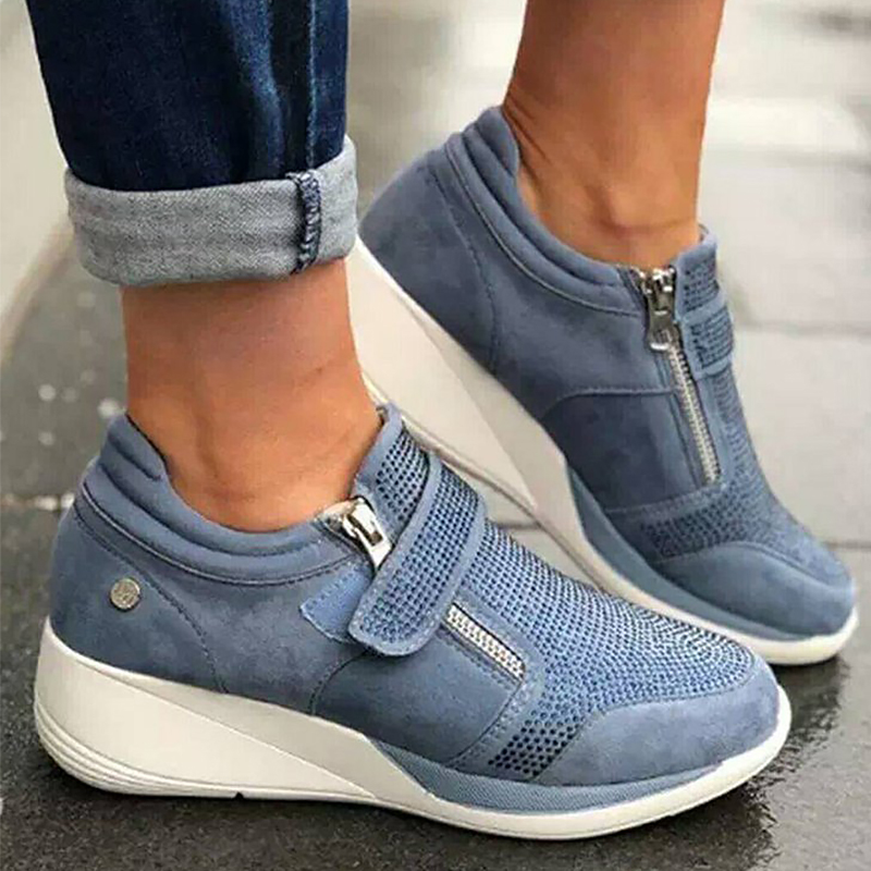 Women's Sneakers Mesh Breathable Casual Woman Sneaker Height Increasing Chunky Sneakers Hook Loop Female Shoe Zip
