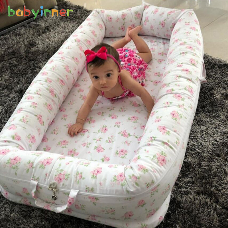Baby Inner Baby Crib Bed 90*55cm Infant Nest Bed Portable Crib Travel Bed Cotton For Newborn Baby Bed Removable Washable