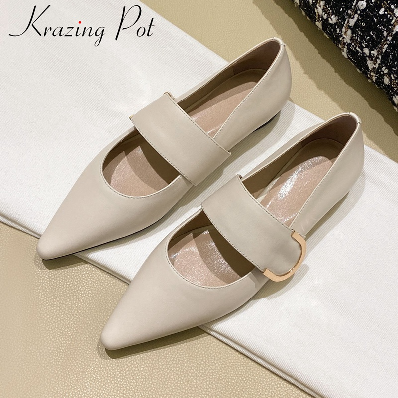 Krazing Pot Genuine Leather Pointed Toe Low Heels Elegant Women Pumps Luxury Concise Runway Comfortable Dating Spring Shoes L36