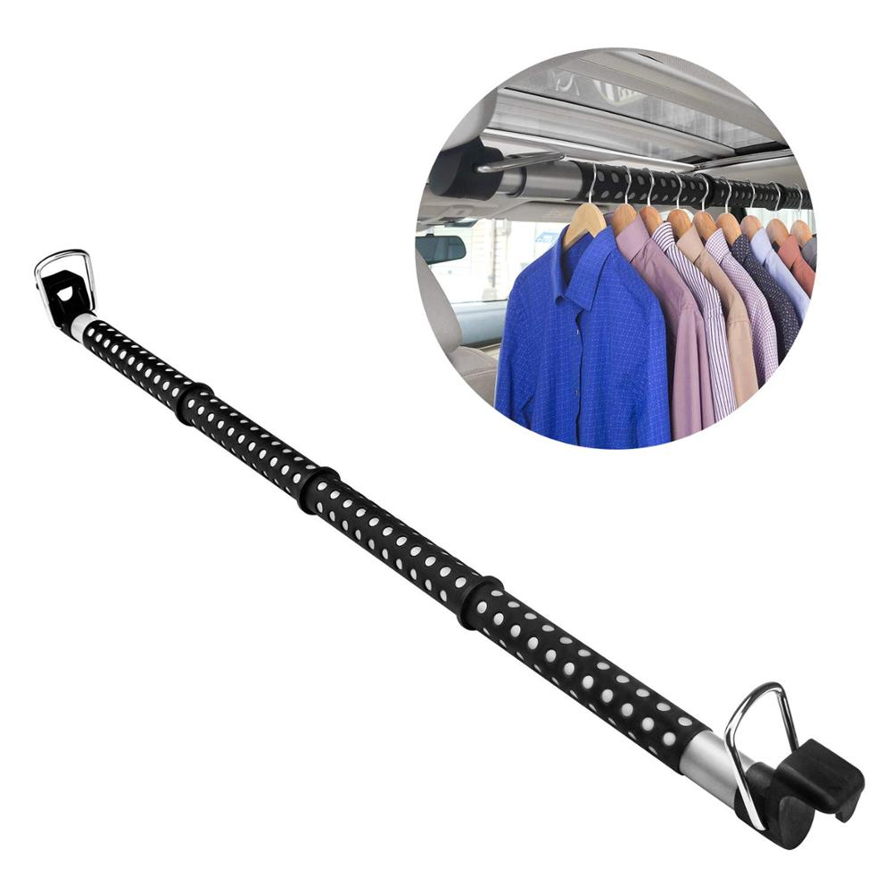 E-FOUR Car Clothes Hanger Bar Auto Rod Automobile Hanging Coat Rack For Garment Cloths - Best For Travel Back-Seat Laundry Rack