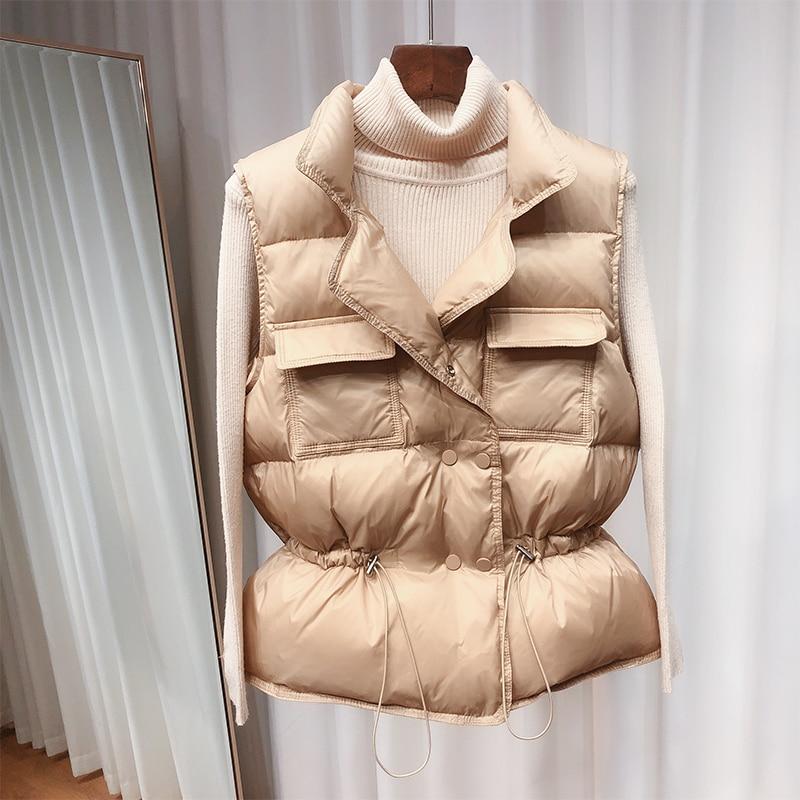 2020 New Ultra Light Down Vest Women Short Vest gilet caldo leggero antivento donna piumino d'anatra bianco senza maniche 4