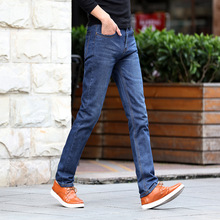 Men's Jeans Slim Straight Pants Men's Mid Waist Trousers Men Plus Size Straight Jeans Male Distressed Denim Pants Biker Jeans straight leg light wash distressed jeans