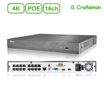 16ch 4K POE NVR H.265 Onvif Network Video Recorder System 2HDD 24/7 Recording IP Camera P2P Guard Viewer Support Mac G.Craftsman