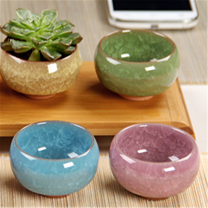 1 Pcs Cute Ice-Crack Glaze Flower Ceramic Succulent Plant Mini Pot Home Office Decor Planter Desktop Flower Pots New Arrive Hot
