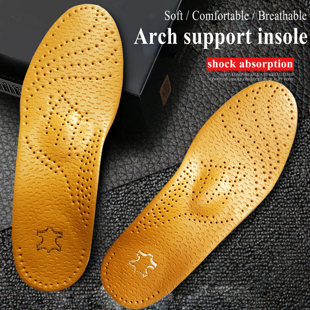 KOTLIKOFF Orthopedic Foot Care Insole Leather Latex Antibacterial Active Carbon Orthotic Arch Support Instep Flat Foot Shoes Pad