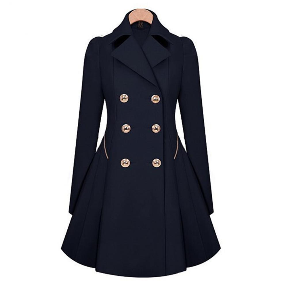 Autumn Women Long Sleeve Double Breasted   Trench   Coat Femme Blusas Peplum Casual Slim Overcoats Windbreaker Outwear with Pockets