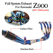 Full System Motorcycle Exhaust For Kawasaki Z900 2017-2020 Years Modified Escape Carbon Fiber Muffler Front Middle Link Pipe ninja400 motorcycle full exhaust system modified front middle pipe laser carbon muffler slip on for kawasaki ninja 400 z400 2018