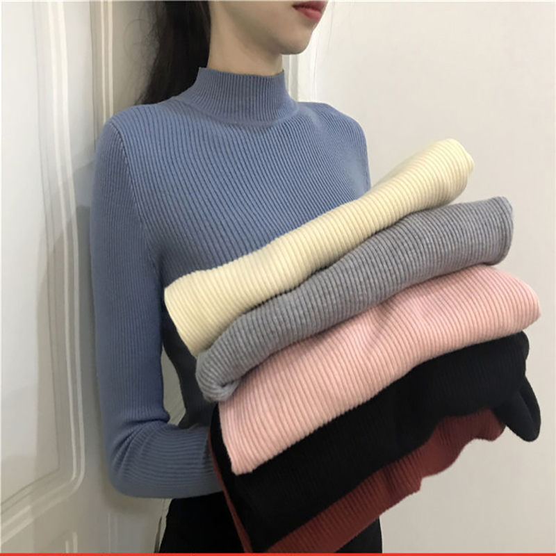 New Arrival  Winter Knitted Women Sweater Half Turtenleck Slim Solid Color Tight Fitting Pullovers