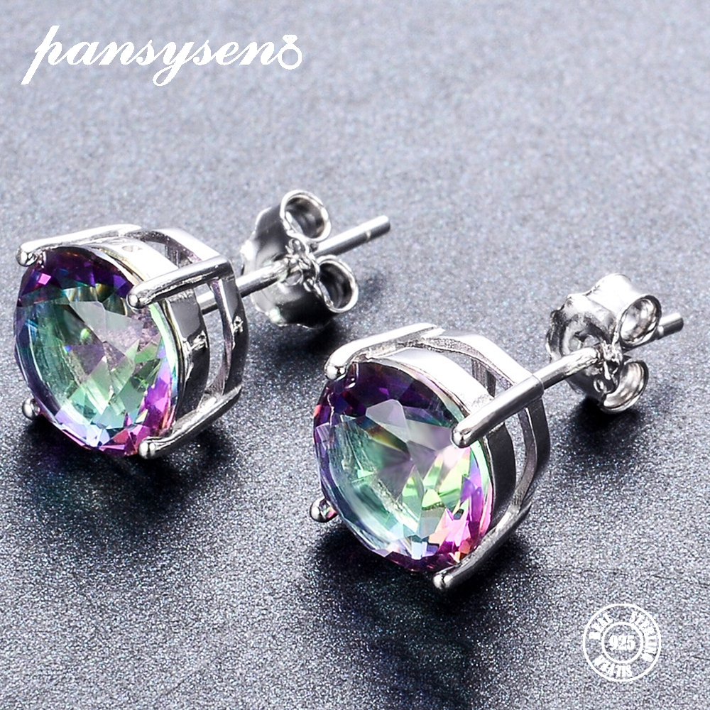 PANSYSEN 100% 925 Sterling Silver 8MM Round Mystic Rainbow Topaz Gemstone Stud Earrings Jewelry Earring For Women Wholesale Gift