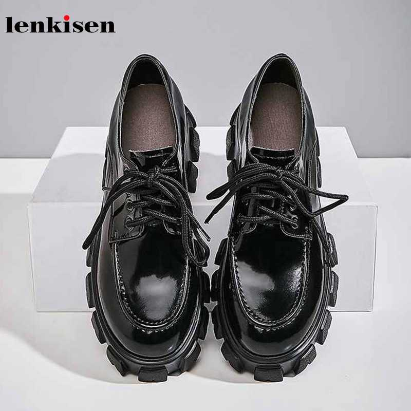 Lenkisen classic genuine leather white sneaker round toe high heels thick bottom platform lace up women vulcanized shoes L8f7