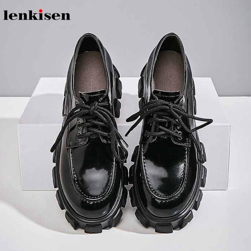 Lenkisen classique en cuir véritable blanc sneaker bout rond talons hauts fond épais plate-forme à lacets femmes chaussures vulcanisées L8f7