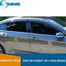 Черные боковые оконные дефлекторы, защита от дождя, дверной козырек для VW PASSAT 2011 2018, седан, ветровые щитки, ветрозащитные дефлекторы, автомобильный Стайлинг SUNZ