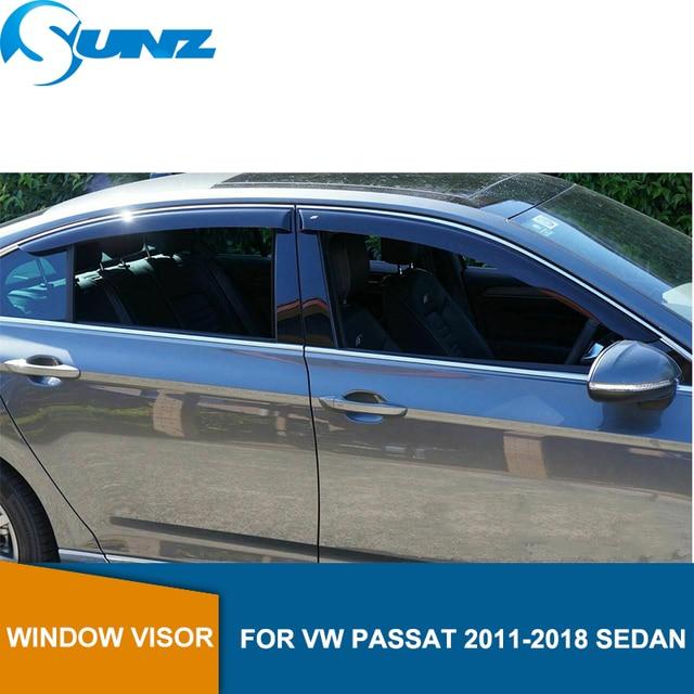 Black Side window deflectors rain guard door visor For VW PASSAT 2011 2018 SEDAN Wind shields wind deflectors car styling SUNZ