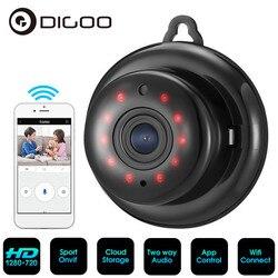 Беспроводная мини-камера видеонаблюдения DIGOO, с объективом 2,1 мм, 720 P, Wi-Fi, функцией ночного видения, IP, Onvif, Радионяня