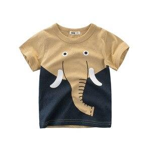 Летняя хлопковая Футболка для мальчиков с принтом милых животных, детская одежда с коротким рукавом, Детские рубашки со слоном, львом, жираф...