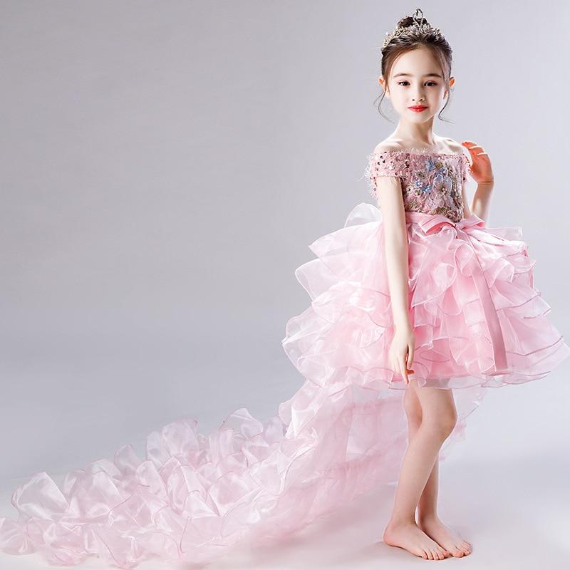 CHILDREN'S Dress Princess Dress Tailing Catwalks Puffy Yarn Flower Boys/Flower Girls Small Host Late Formal Dress Girls Piano Co