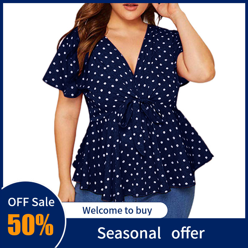 Women's Blouse Plus Size V Neck Short Sleeve Shirt For Female Polka Dot Knot Waist Ladies Shirt Bandage Blusas De Mujer Verano
