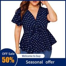 Women's Blouse Plus Size V Neck Short Sleeve Shirt For Female Polka Dot Knot wai