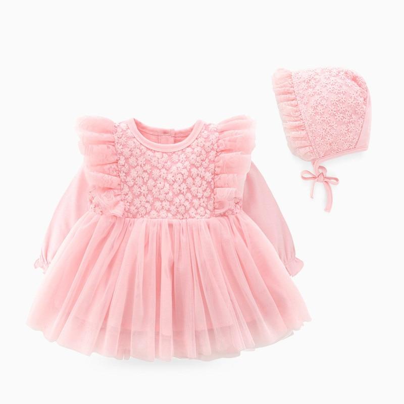 Conjunto de ropa para bebé niña recién nacida, vestido de algodón de manga larga de encaje para bautizo y cumpleaños de 0 a 3 meses, 2019