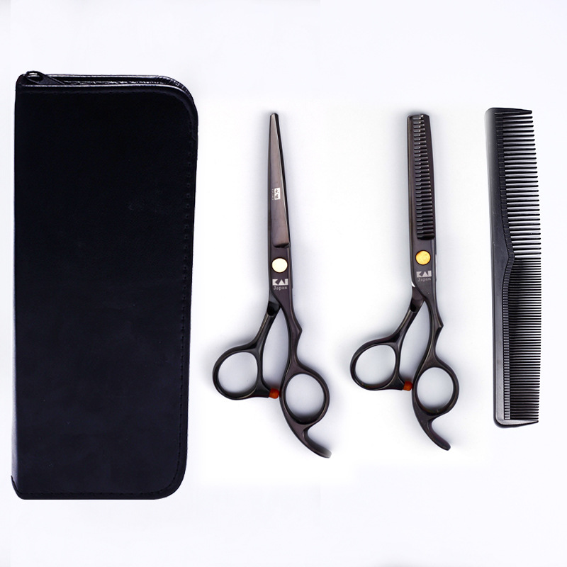 Fire Carpenter Hairdressing Scissors 6-Inch Black And White With Pattern Straight Snips Thinning Scissors Thinning Shear Home Sc