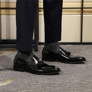 Image 5 - فيليكس تشو براءات الاختراع والجلود الرجال شرابة أحذية لوفر الأسود براون الانزلاق على فستان رجالي أحذية الزفاف أحذية رسمية حجم 39 46