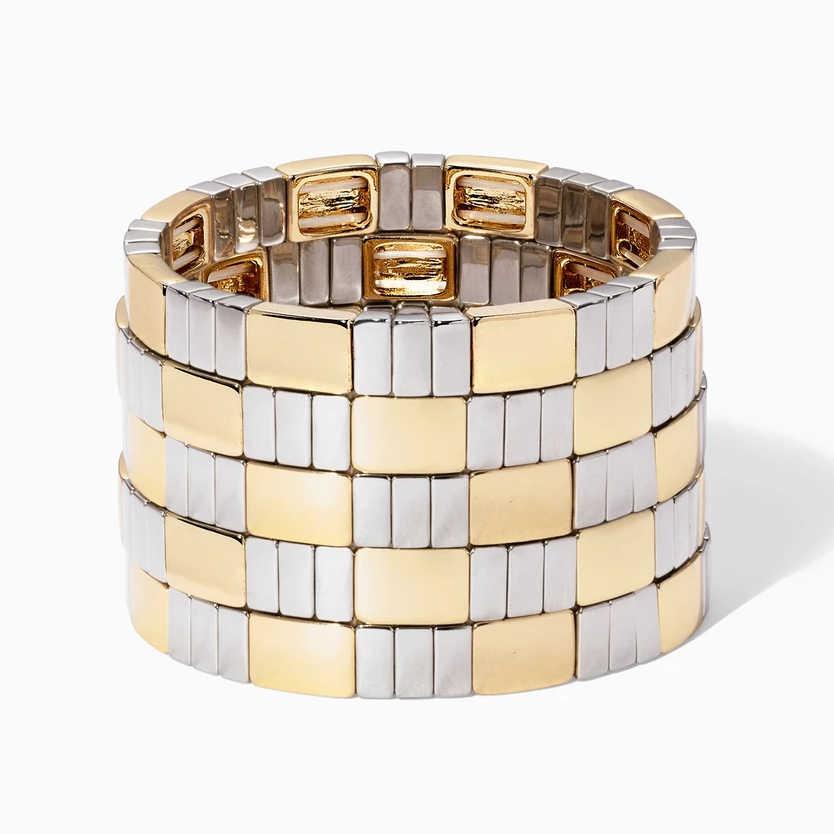 Flatfoosie moda kobiety mężczyźni malowane mankietowa bransoletka metalowa biżuteria stackowalny stos Rainbow elastyczna Stretch emaliowane koraliki płytka bransoletka