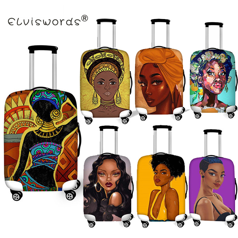 ELVISWORDS Black Art African Girls Luggage Cover Dustproof Suitcase Bags New Luggage ID Name Tags Customized Travel Accessories