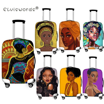 ELVISWORDS Black Art African Girls Luggage Cover Dustproof Suitcase Bags New ID Name Tags Customized Travel Accessories