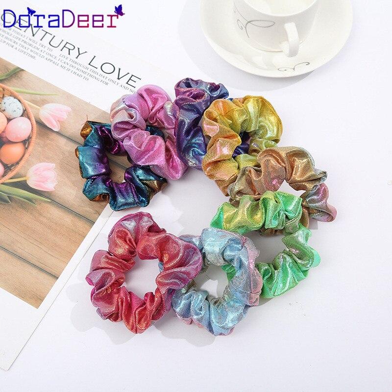 DoraDeer Scrunchie Girls Blue Light Hair Accessories Women Colorful Bandanas Girl Ponytail Holder Hair Band Headbands Hair Bands