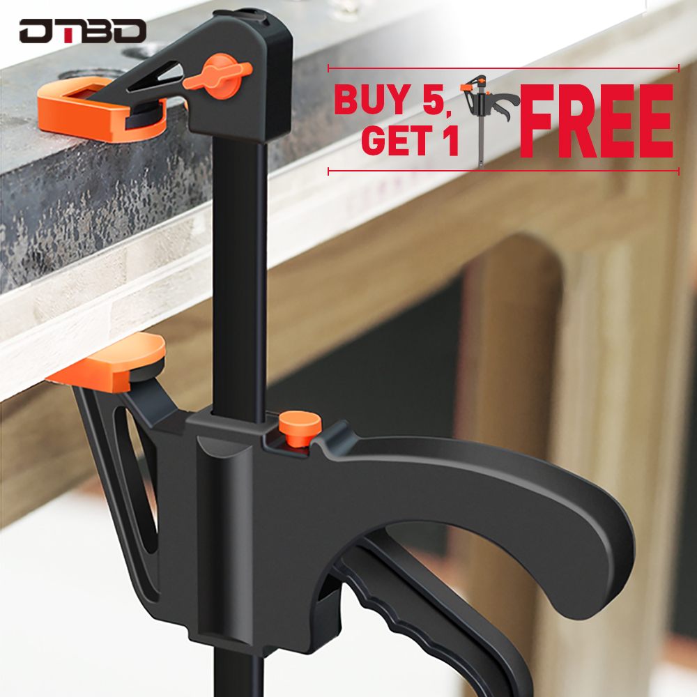 DTBD Spreader Work Bar Clamp F Clamp Gadget Tool DIY Hand Speed Squeeze Quick Ratchet Release Clip Kit 4 Inch Wood Working