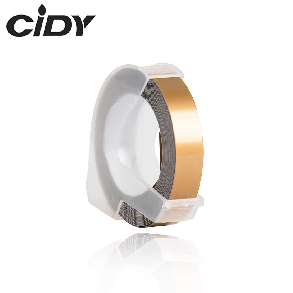 CIDY 1pcs Compagne Gold Color Compatible For DYMO 1610 12965 Label Maker 3D Plastic Embossing Xpress Label 9mm*3m MOTEX E101