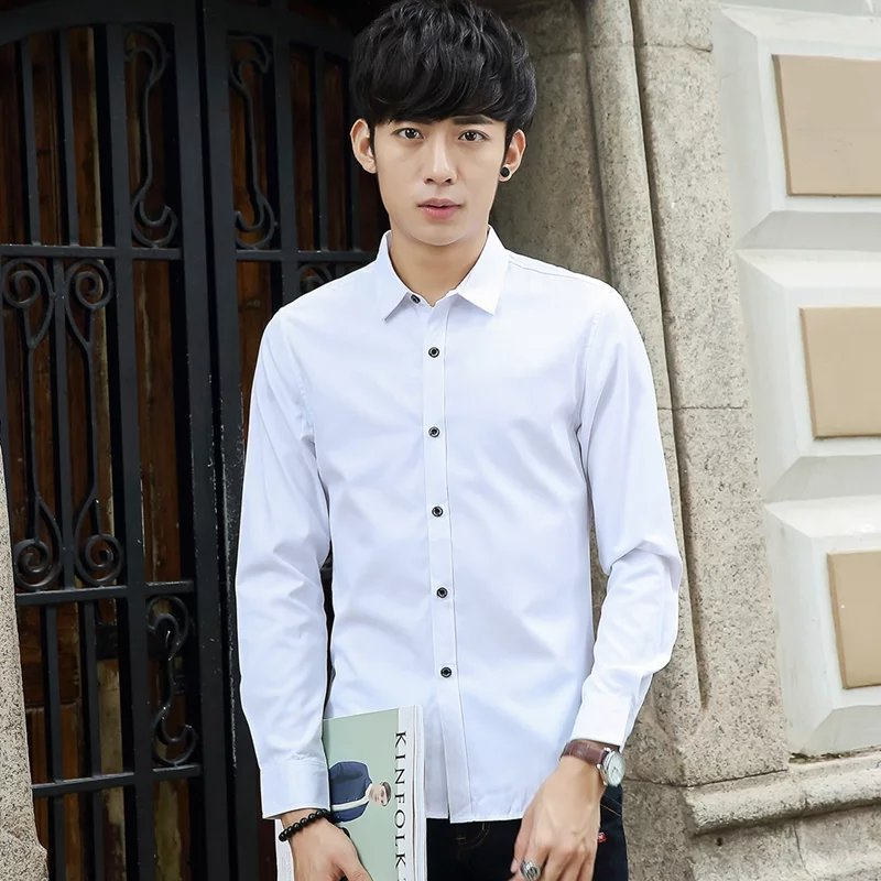 Autumn Men White Formal Wear Red Long-sleeved Shirt Business Workwear Korean-style Slim Fit Gentleman Solid Color Shirt Inch Fas