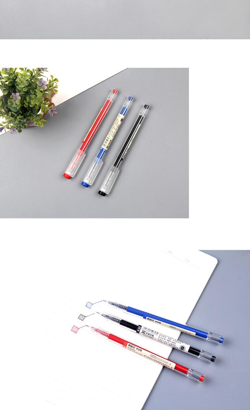 12 Pcs//set Muji Style Gel Pen 0.35mm Black Blue Red Ink Office Student Exam