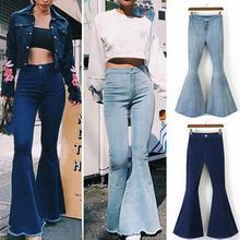 Модные женские туфли однотонные Цвет пикантные Высокая Талия S-lim Одежда для девочек с брюками-клеш джинсовые штаны брюки для Для женщин джинсы Высокая талия джинсы Для женщин