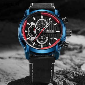 Image 1 - MEGIR lüks Chronograph kuvars saatler erkekler üst marka deri kol saati adam su geçirmez ışık askeri spor İzle saat 2104