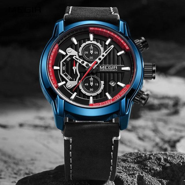 MEGIR lüks Chronograph kuvars saatler erkekler üst marka deri kol saati adam su geçirmez ışık askeri spor İzle saat 2104
