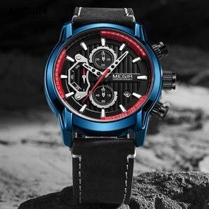 Image 1 - MEGIR montre bracelet de luxe chronographe en cuir pour hommes, marque supérieure, étanche, lumineuse de Sport militaire, horloge 2104