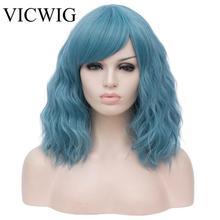 VICWIGคอสเพลย์WigsกับBangsสีเขียวสีฟ้าสั้นCurlyผมความร้อนทนวิกผมสังเคราะห์สำหรับสีขาว/สีดำผู้หญิง